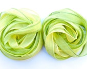 SowZerE  - NEW  Lemon and Lime Fizz - Two hand made hand dyed  silk chiffon ribbons