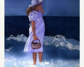 Watercolor Girl Print  - Blue Ocean - signed limited edition