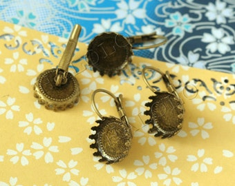 10pcs antique bronze finish french earring with round base- 12mm (0274)