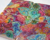 Flourish - stone art coaster collaboration with artist Stephanie Corfee - thepaintedlily