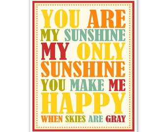 Children's Wall Art / Nursery Decor You Are My Sunshine... print by Finny and Zook