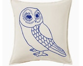 Large owl pillow, owl throw pillow, decorative pillow cover, 20 x 20 accent pillow, owl decor