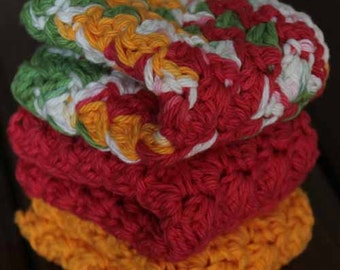 Cotton Crochet Dishcloths - Set of 3