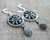 Labradorite, Hematite Gemstone and Silver Beaded Sterling Silver Handmade Earrings