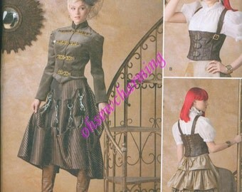 Steam Punk Gown Dress Corset Skirt Sewing Pattern Simplicity 1558 Sizes 14-16-18-20-22 Ruffled Skirt Military Jacket
