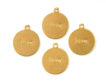 LOVE Round Raw Brass Word Charm Drop with Loop (8) chr192E
