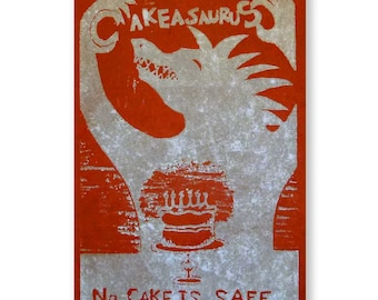 No Cake is Safe (original woodblock silver red)