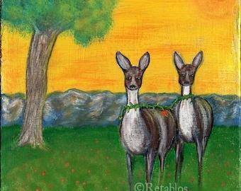 Proceeds Benefit Animal Rescue Mexican Folk Art - Retablo Folk Art, Acrylic Woodland Deer Art, Heart Home, Woods at Sunset, 8x8 Photo Print