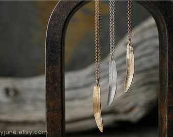 Single Leaf Necklace | Silver, Bronze or 14k Gold Necklace