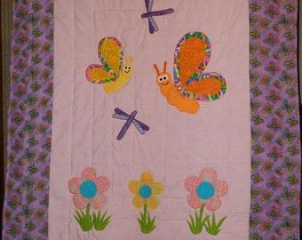 Happy Butterfies Crib quilt, purple