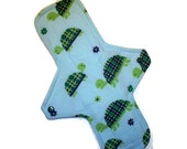 MAXI cloth menstrual pad  11  inches long with PUL - Turtles