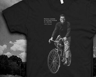 John F. Kennedy Bicycle quote Tshirt Mens Softstyle JFK bike t-shirt