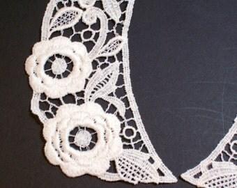 Lace Applique, Matte Ivory Venice Lace Applique Collar Set of 2 Pieces