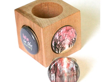 Magnetic Ring - Silver Hammered - Forest, Treeline, Red, Mauve, Journey - Upcycled by Polarity - Raceytay Collection