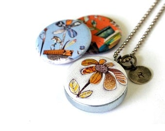 Flowers Magnetic Necklace, Custom Stamped Locket, Collage Flowers, Silver Steel, Blue, Orange Florals, Jennifer Johansson and Polarity