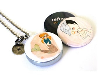 Tattoo Girl Magnetic Locket - Mermaid Recycled Necklace - Refuse to SINK, Anchor, Sea, Stamped Initial - Nan Lawson Collection by Polarity