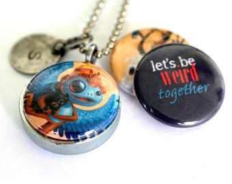 Personalized Teen Locket Necklace - Friendship, Wizard of Oz Monkey, Toto, Tree, Birds, Magnetic by Polarity, Cuddly Rigor Mortis Collection