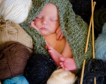 Sage Green Lacy Baby Knit Cocoon Pod Photography Prop