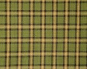 Homespun Fabric | Plaid Fabric | Primitive Cotton Fabric | Quilt Fabric | Green, Black, Butterscotch and Natural Plaid Fabric | 1 Yard