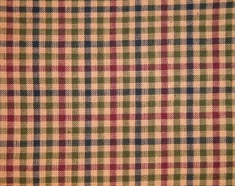 Check Fabric | Homespun Fabric | Cotton Fabric | Home Decor Fabric | Navy Olive Wine And Tea Dye Medium Check  Fabric | 1 Yard