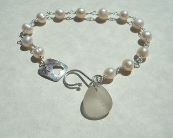 White Sea Glass and Freshwater Pearl Bracelet in Sterling Silver