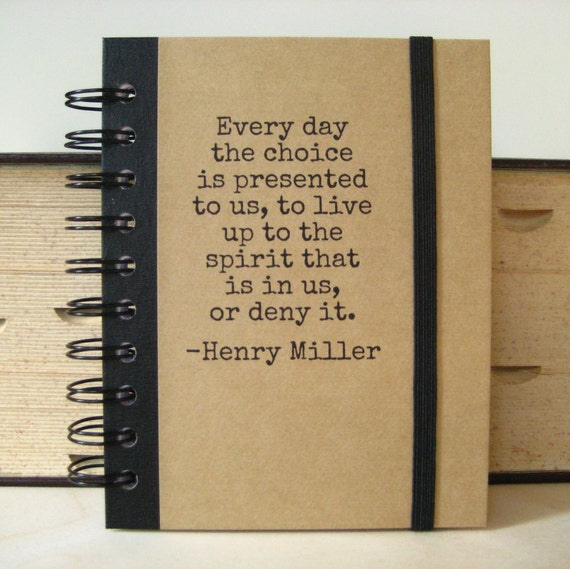 Writing Journal Henry Miller Quote Notebook Blank Book Handmade Paper Goods Zany 1