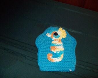 Turquoise seahorse bath mitt