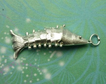 Vintage Sterling Silver Dangle Charm - Chinese Fish