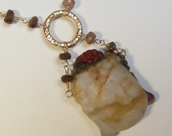 Buddha Necklace - Buddha Necklace in African Blood Jasper Goldstone Necklace