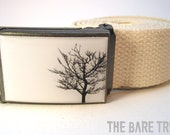 Solitary Black Bare Tree on White background on Antiqued Steel Buckle with Natural colored cotton belt