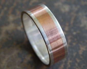 RUSTIC Silver & Copper // Men's Wedding Ring // Women's Wedding Ring // Men's Wedding Band // Women's Wedding Band // Unique Band