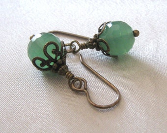 Green Honeycomb Glass Earrings Vintaj Hooks Art Nouveau Style