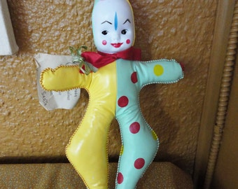 Vintage Pixie Clown Doll - Oilcloth - 1950's Mint Condition with Letter from Santa