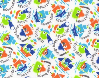 PIRATE Ooga Booga, Cotton Interlock Knit Fabric, FQ, Fat Quarter 18 x 29 inches