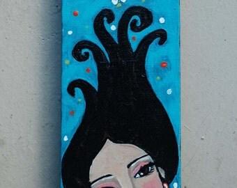 Folk Art Chunky Crabapple Girl Painting