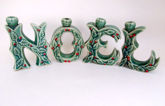 Vintage christmas noel ceramic letters decoration for Decoration 5 letters