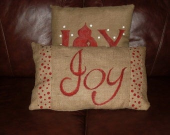 Burlap JOY pillow