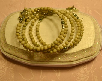 Olive Green Round Ceramic,Pearls,Crystal Memory Wire Bracelet