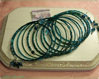 Greenish Turquoise,Teal Memory Wire Bracelet