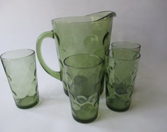 Hazelware El Dorado Avocado Green Glass Dot Pitcher and Tumblers Set of Four - Vintage Chic