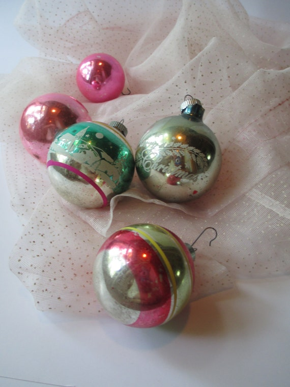Vintage Pastel Shiny Brite Glass Ornaments Set of Five - Mid Century