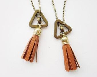 Tassi / Minimalist Open Triangle and Tan Vegan Leather Tassel Necklace