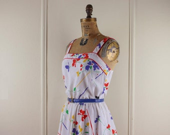 Vintage 1980s White and Bright Floral Cotton Sun Dress - size small to medium
