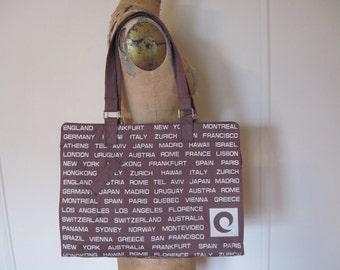 Cities of the World, 1970s Brown Canvas Shoulder Bag - vintage jet setters purse, tote bag, book bag