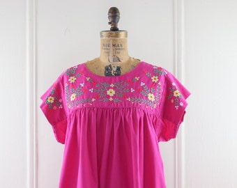 1970s Magenta Mexican Oaxacan Dress with Embroidered Flowers - vintage Bohemian Maxi Sundress, made in Pakistan -