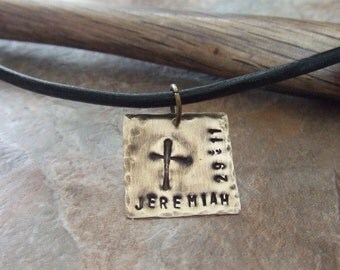 Cross Necklace, Handstamped Cross Necklace, Rugged Cross Necklace, Scripture Necklace, Bible Verse Necklace, First Communion Confirmation
