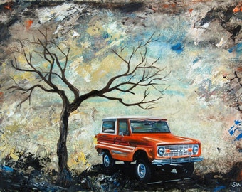 1976 Orange Ford Bronco Print, fathers day, print, gift, present