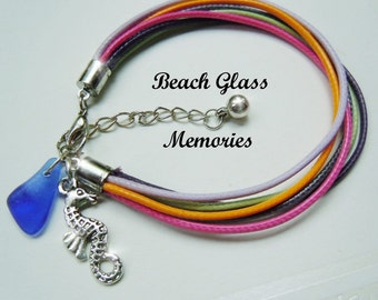Friendship Cord  Sea Glass Bracelet - Multi- Color Seaglass Bracelet - Beach Glass Seahorse Bracelet