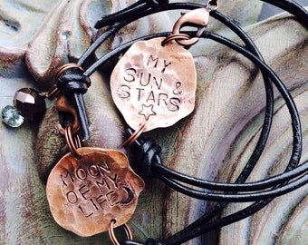 2 copper and leather Thrones Bracelets  ~ Hand Hammered copper penny ~ metal stamped ~ customize with your idea ~ sun and stars