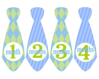 Monthly Stickers Baby Boy/Baby Monthly Stickers/Ties Blue and Green/Necktie Baby Stickers/ Month to Month Stickers//Boy Baby Shower Gift